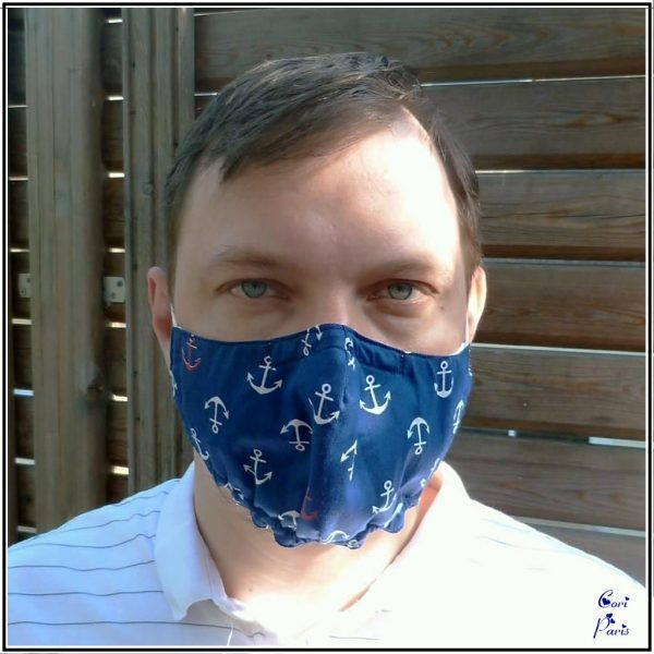 Men's face mask with nautical print, reusable and breathable face mask with filter