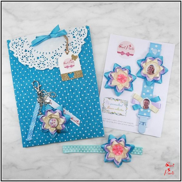 Mother's day gift for new mother, four matching baby and mom accessories with a blue flower