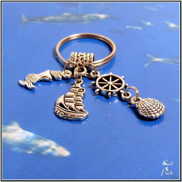 Nautical keyring, keychain with mermaid, ship, shell and rudder charms, a unique gift for dad