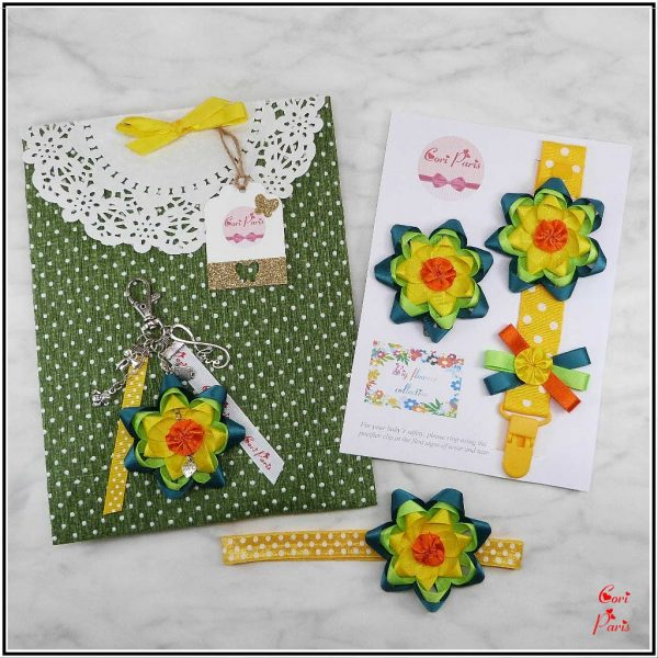 New baby gift set from Cori Paris, yellow Big Flower Collection