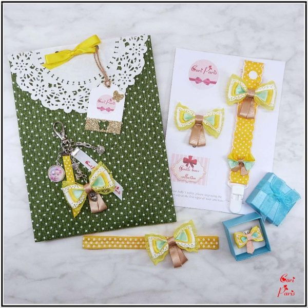 Baby shower gift idea – matching items for baby and mommy, all with cute yellow bows
