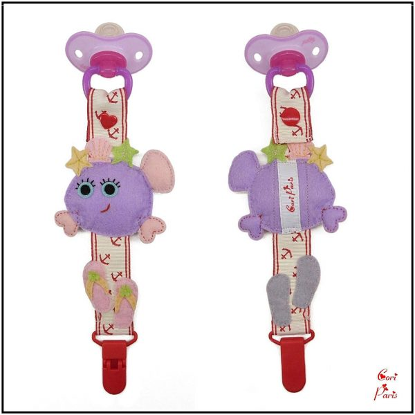 Pacifier clip girl with a purple fish, summer baby gift from CORI PARIS