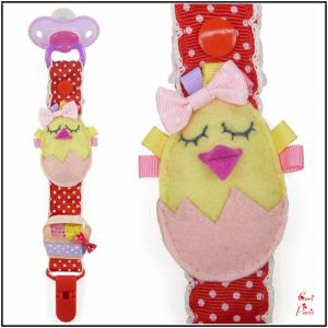 Pacifier holder with felt Easter Chick from CORI PARIS