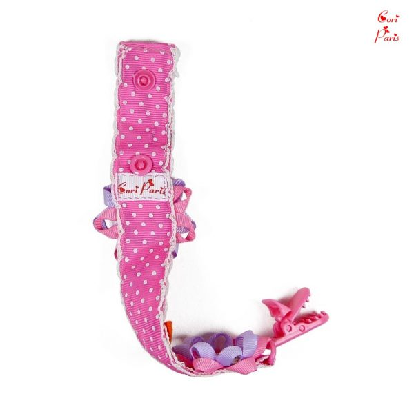 Personalized binky clip in pink color with felt butterflies for a baby girl