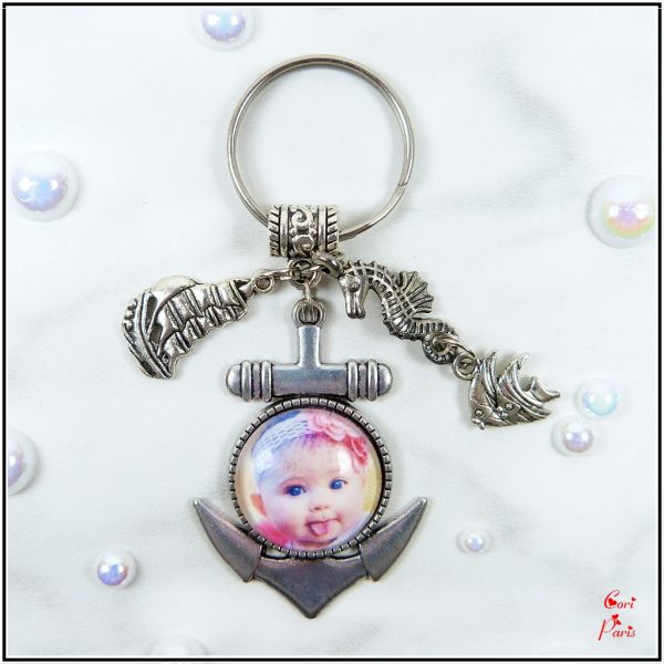 Personalized keychain with photo - anchor keyring with picture and ship, seahorse and fish charms