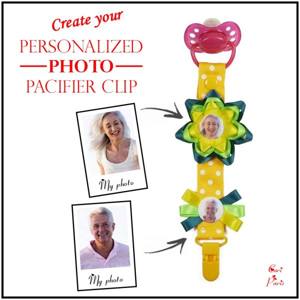 Custom pacifier clip with photos and a yellow flower, a unique gift for new mom