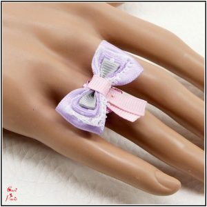 Purple ring for women, adjustable ribbon bow ring / cute jewelry