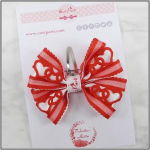 Red hair bow to celebrate Valentine's Day for girls
