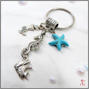 Sea life keyring – beach key chain with mermaid, seahorse, fish and starfish charms