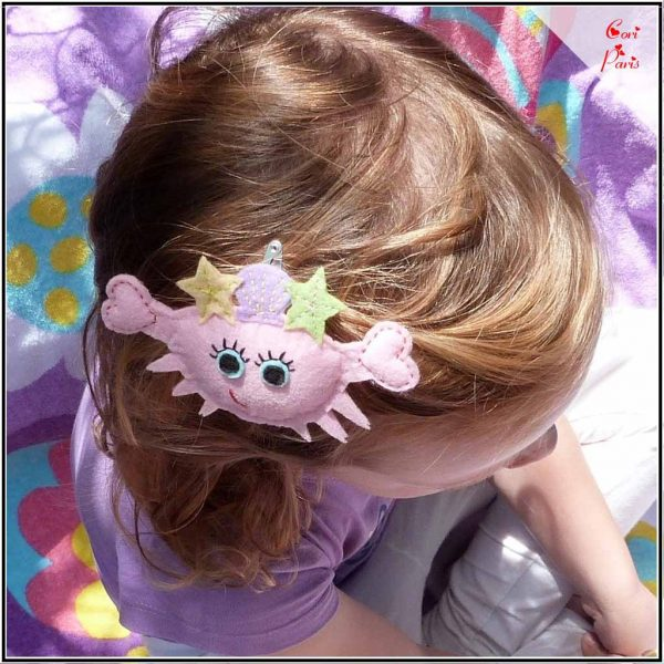 Summer accessories for girls, pink crab hair tie or barrette hair clip