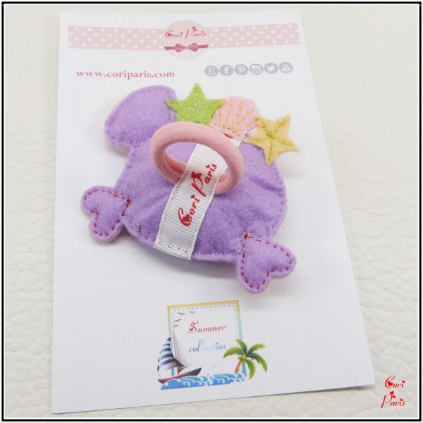 Summer hair clip with a purple fish for babies and girls