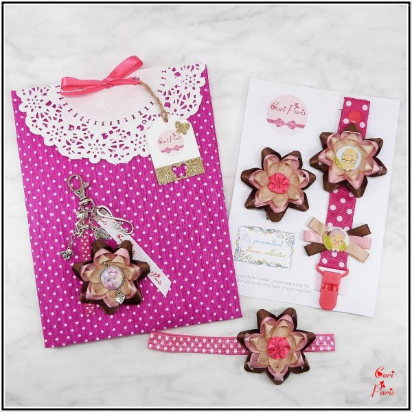 Baby gift set girl including matching items with pink flowers, great gifts for new moms